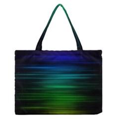 Blue And Green Lines Medium Zipper Tote Bag
