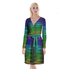 Blue And Green Lines Long Sleeve Velvet Front Wrap Dress