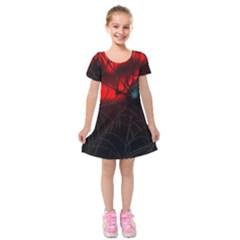 Spider Webs Kids  Short Sleeve Velvet Dress
