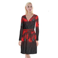 Spider Webs Long Sleeve Velvet Front Wrap Dress