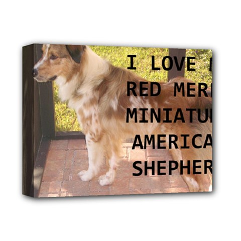 Mini Australian Shepherd Red Merle Love W Pic Deluxe Canvas 14  x 11