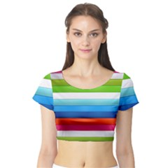 Colorful Plasticine Short Sleeve Crop Top (Tight Fit)