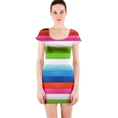 Colorful Plasticine Short Sleeve Bodycon Dress