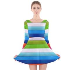 Colorful Plasticine Long Sleeve Velvet Skater Dress