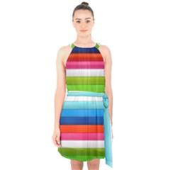 Colorful Plasticine Halter Collar Waist Tie Chiffon Dress