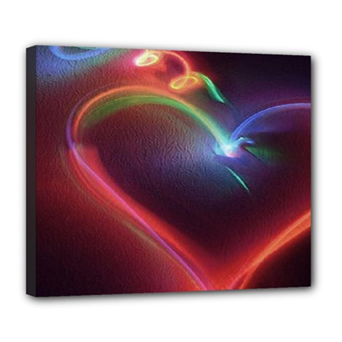 Neon Heart Deluxe Canvas 24  x 20