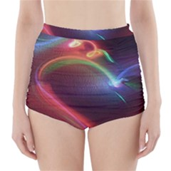 Neon Heart High-Waisted Bikini Bottoms