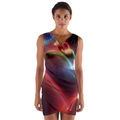 Neon Heart Wrap Front Bodycon Dress