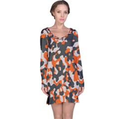 Camouflage Texture Patterns Long Sleeve Nightdress