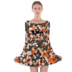 Camouflage Texture Patterns Long Sleeve Skater Dress