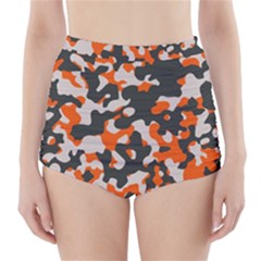 Camouflage Texture Patterns High-Waisted Bikini Bottoms