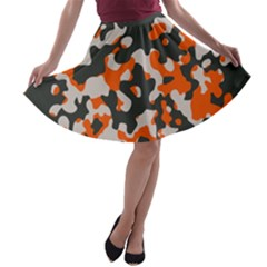 Camouflage Texture Patterns A Line Skater Skirt