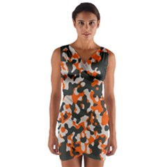 Camouflage Texture Patterns Wrap Front Bodycon Dress
