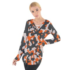 Camouflage Texture Patterns Women s Tie Up Tee