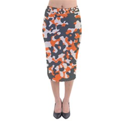 Camouflage Texture Patterns Velvet Midi Pencil Skirt