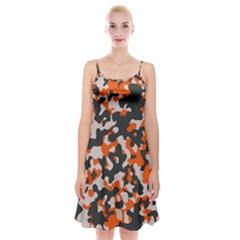 Camouflage Texture Patterns Spaghetti Strap Velvet Dress