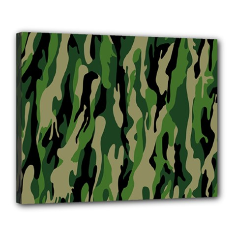 Green Military Vector Pattern Texture Canvas 20  x 16