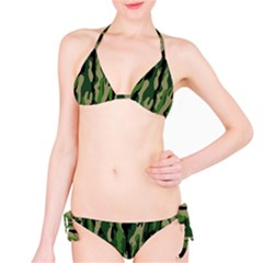 Green Military Vector Pattern Texture Bikini Set