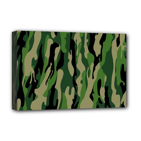 Green Military Vector Pattern Texture Deluxe Canvas 18  x 12