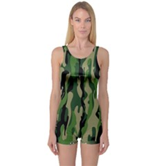 Green Military Vector Pattern Texture One Piece Boyleg Swimsuit