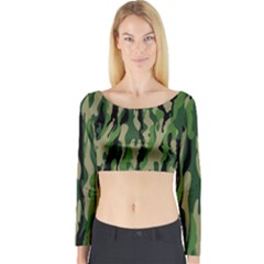 Green Military Vector Pattern Texture Long Sleeve Crop Top
