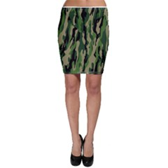 Green Military Vector Pattern Texture Bodycon Skirt