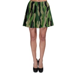 Green Military Vector Pattern Texture Skater Skirt