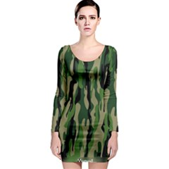 Green Military Vector Pattern Texture Long Sleeve Bodycon Dress