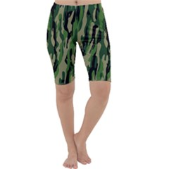 Green Military Vector Pattern Texture Cropped Leggings