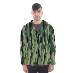 Green Military Vector Pattern Texture Hooded Wind Breaker (Men)