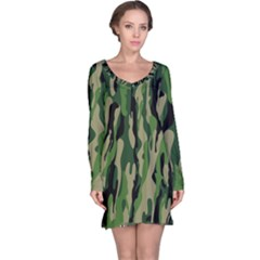 Green Military Vector Pattern Texture Long Sleeve Nightdress