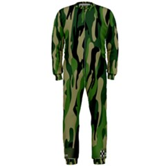 Green Military Vector Pattern Texture Onepiece Jumpsuit (men)