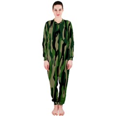 Green Military Vector Pattern Texture OnePiece Jumpsuit (Ladies)