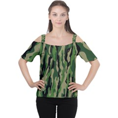 Green Military Vector Pattern Texture Women s Cutout Shoulder Tee