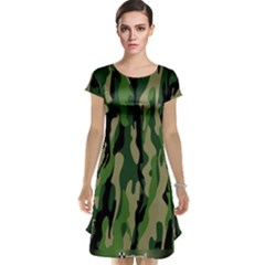 Green Military Vector Pattern Texture Cap Sleeve Nightdress