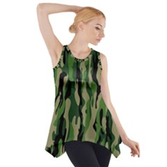 Green Military Vector Pattern Texture Side Drop Tank Tunic
