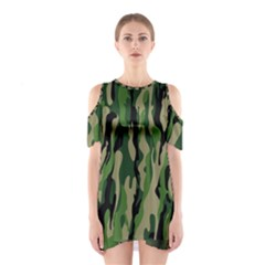 Green Military Vector Pattern Texture Shoulder Cutout One Piece