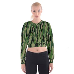 Green Military Vector Pattern Texture Cropped Sweatshirt