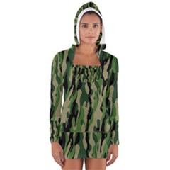 Green Military Vector Pattern Texture Women s Long Sleeve Hooded T Shirt