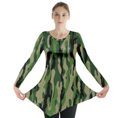 Green Military Vector Pattern Texture Long Sleeve Tunic