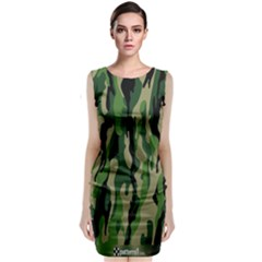 Green Military Vector Pattern Texture Classic Sleeveless Midi Dress