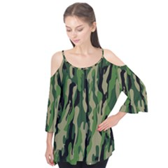 Green Military Vector Pattern Texture Flutter Tees