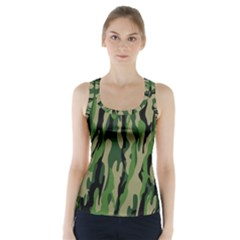 Green Military Vector Pattern Texture Racer Back Sports Top