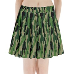 Green Military Vector Pattern Texture Pleated Mini Skirt