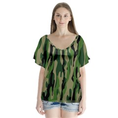 Green Military Vector Pattern Texture Flutter Sleeve Top