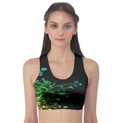 Abstract Colorful Plants Sports Bra