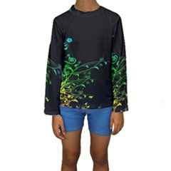 Abstract Colorful Plants Kids  Long Sleeve Swimwear