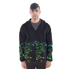 Abstract Colorful Plants Hooded Wind Breaker (Men)