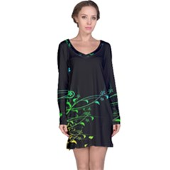 Abstract Colorful Plants Long Sleeve Nightdress