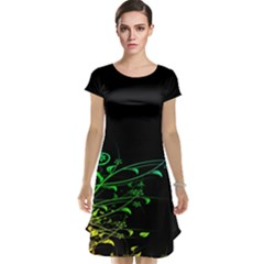 Abstract Colorful Plants Cap Sleeve Nightdress